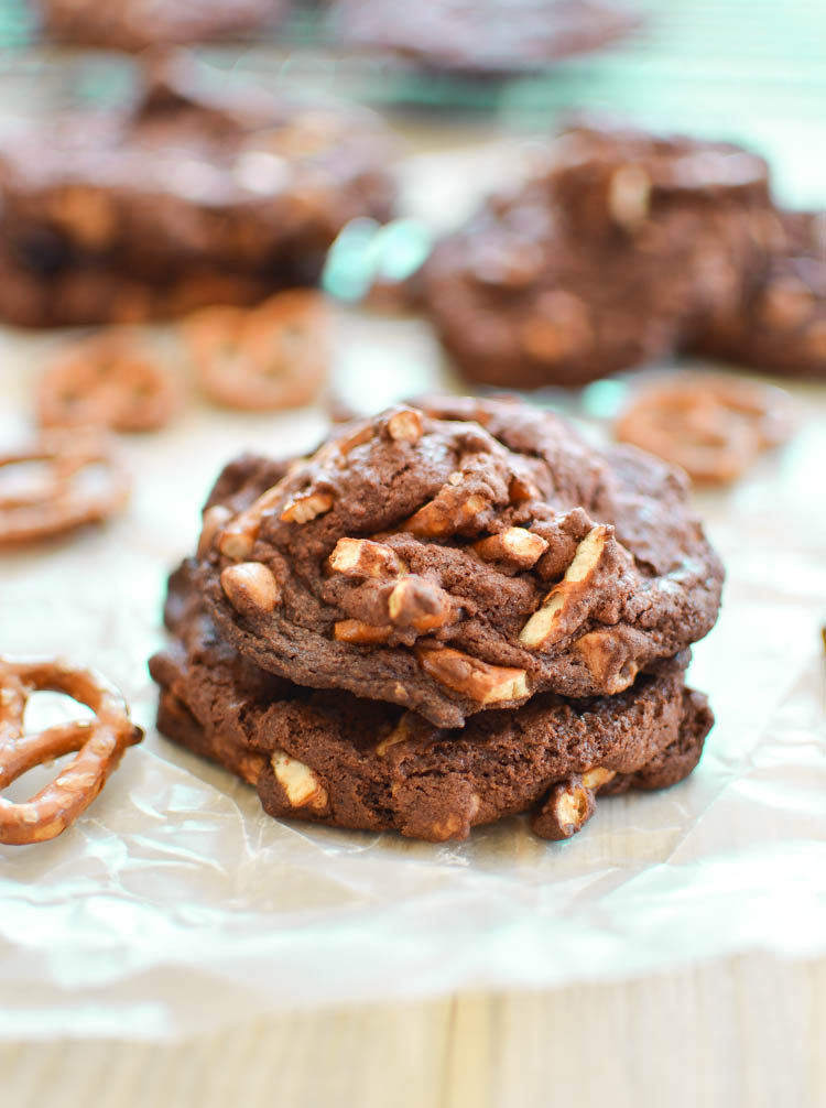 Loaded Chocolate Peanut Butter Pretzel Cookies
