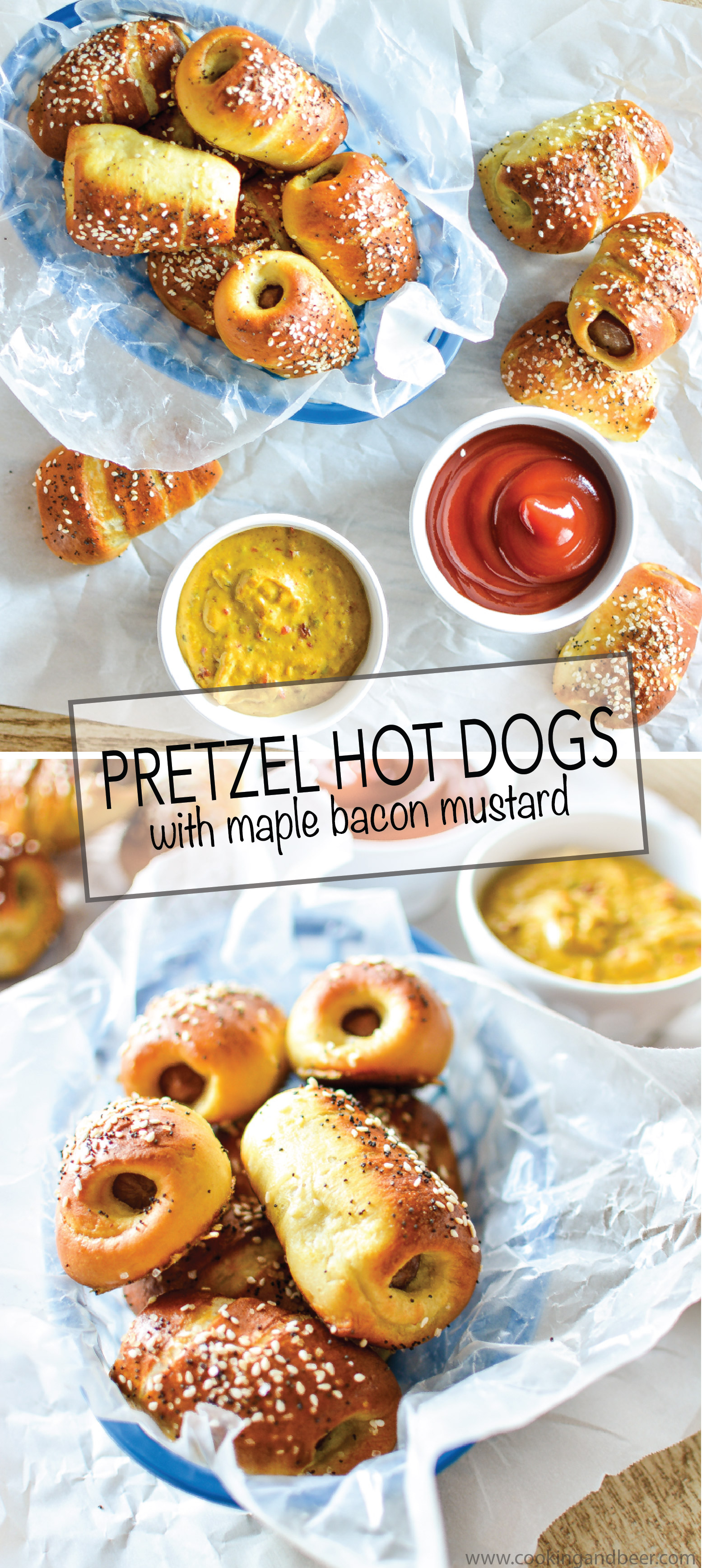 Pretzel Hot Dogs with Maple Bacon Mustard are the perfect snack or appetizer recipe with the perfect dipping sauce!! | www.cookingandbeer.com