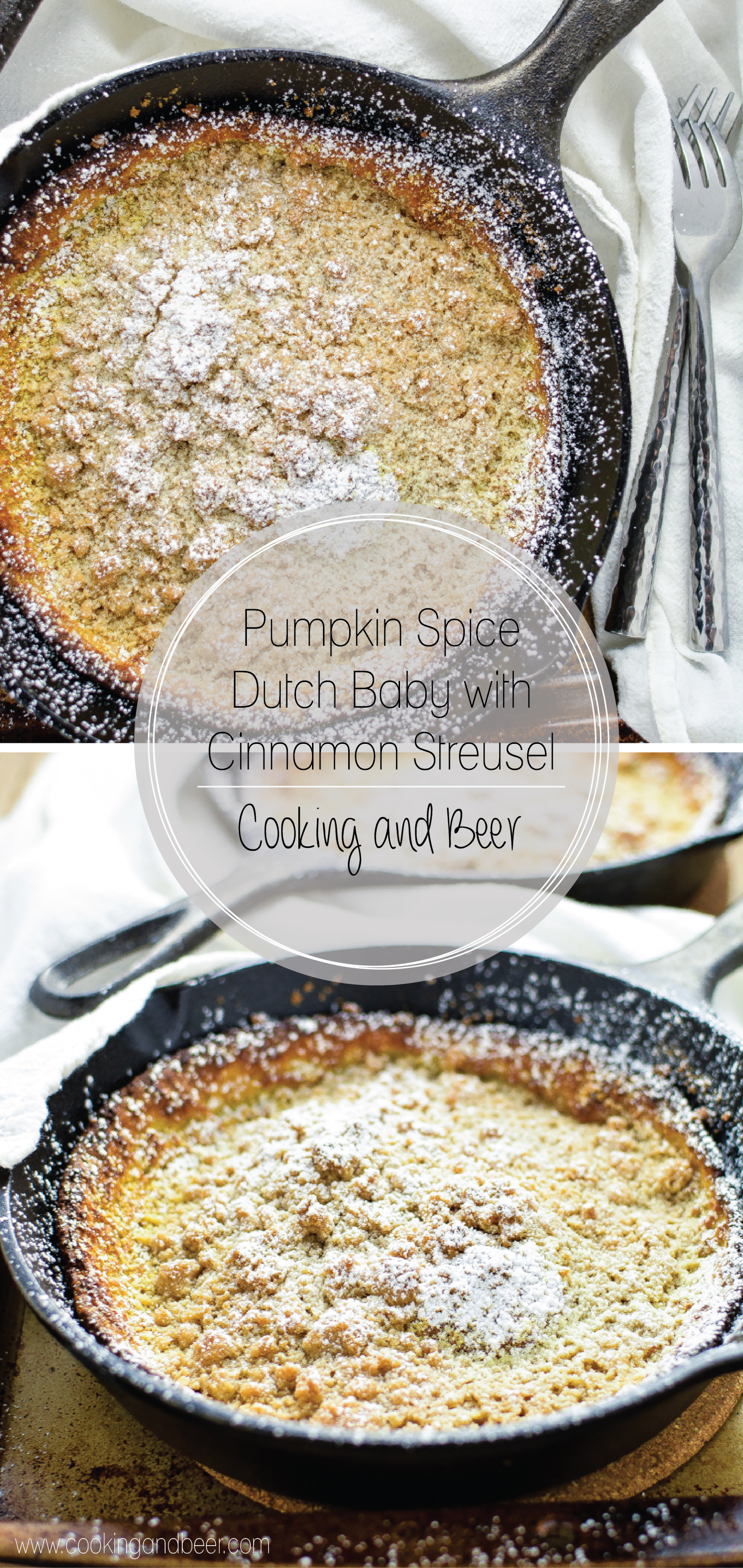 Pumpkin Spice Dutch Baby with Cinnamon Streusel is a fun fall twist on a traditional dutch baby (a sweet popover pancake of German origin).