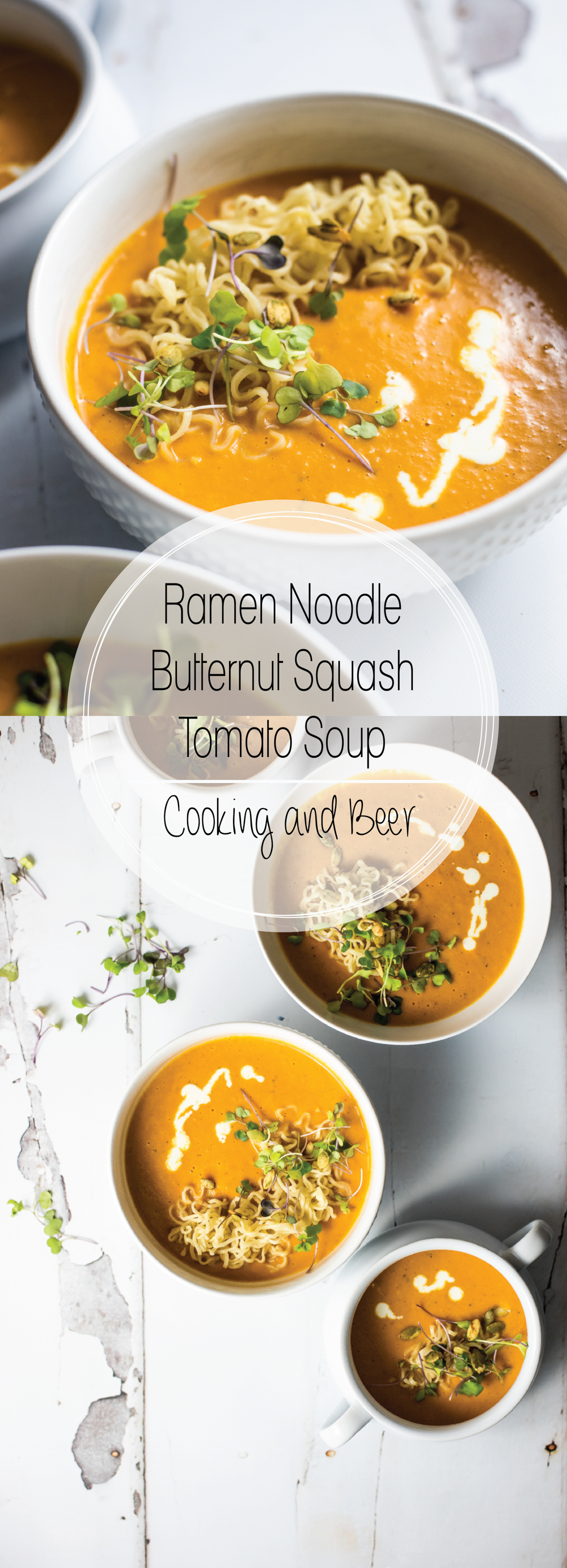 Ramen noodle butternut squash tomato soup is the perfect comforting fall soup. Is exploding with flavor and will warm you right up!