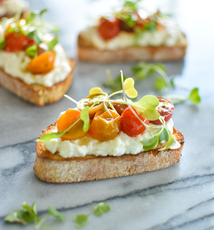 Blistered Heirloom Tomato Bruschetta with Lemon Ricotta