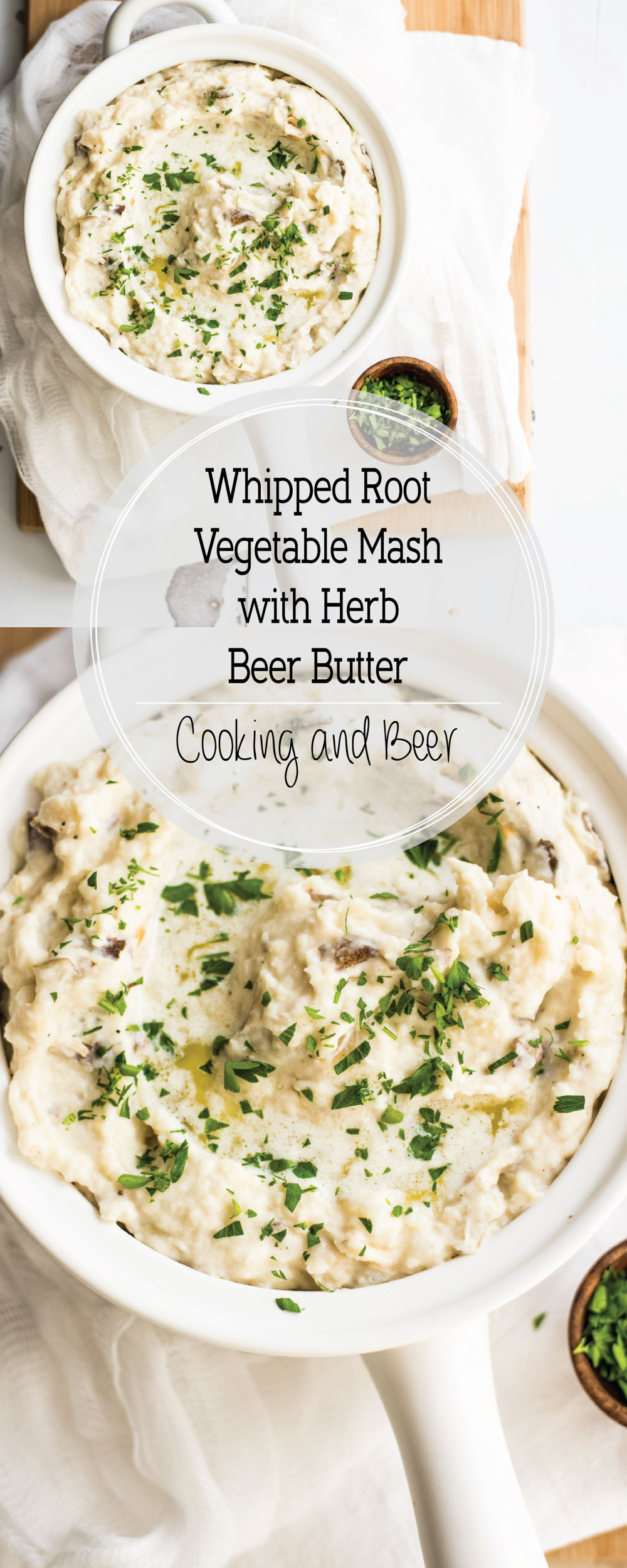 Whipped Root Vegetable Mash with Herb Beer Butter is the perfect side dish for your Thanksgiving spreads! Parsnips and turnips bring this recipe to life!
