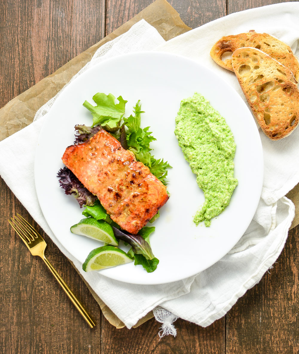 Oven Roasted Salmon with Spring Pea Parmesan Puree is the perfect springtime dinner recipe!