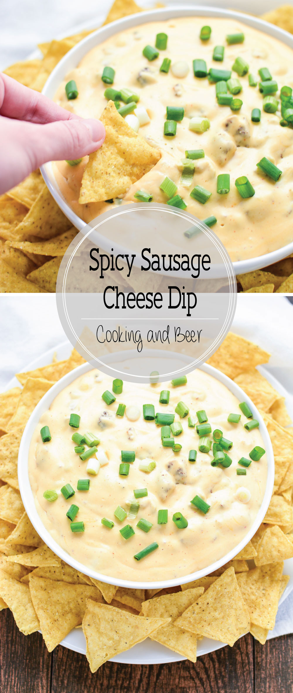 Slow Cooker Spicy Sausage Cheese Dip is the perfect game day recipe highlighting savory ground pork sausage, tons of cheese, and spices to compliment!