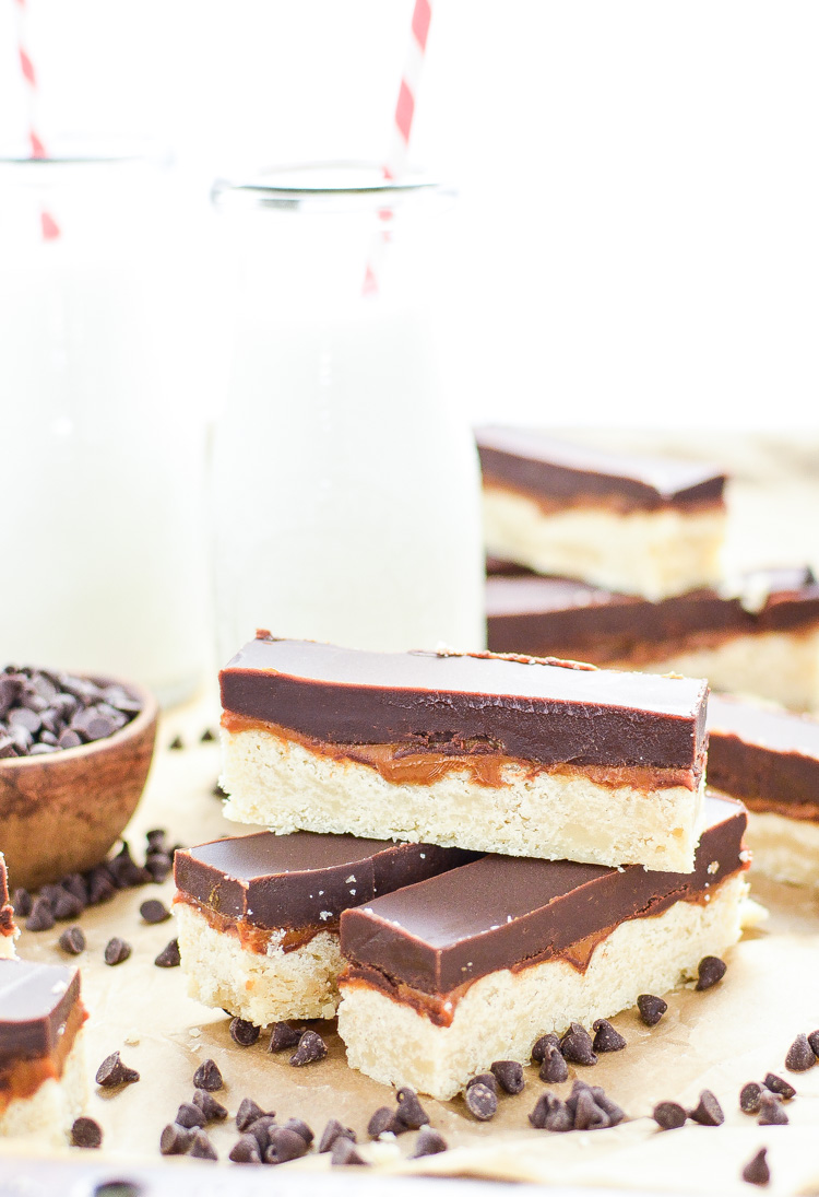 These Chocolate Caramel Shortbread Bars taste just like a classic candy bar, but are homemade and so much more delicious!