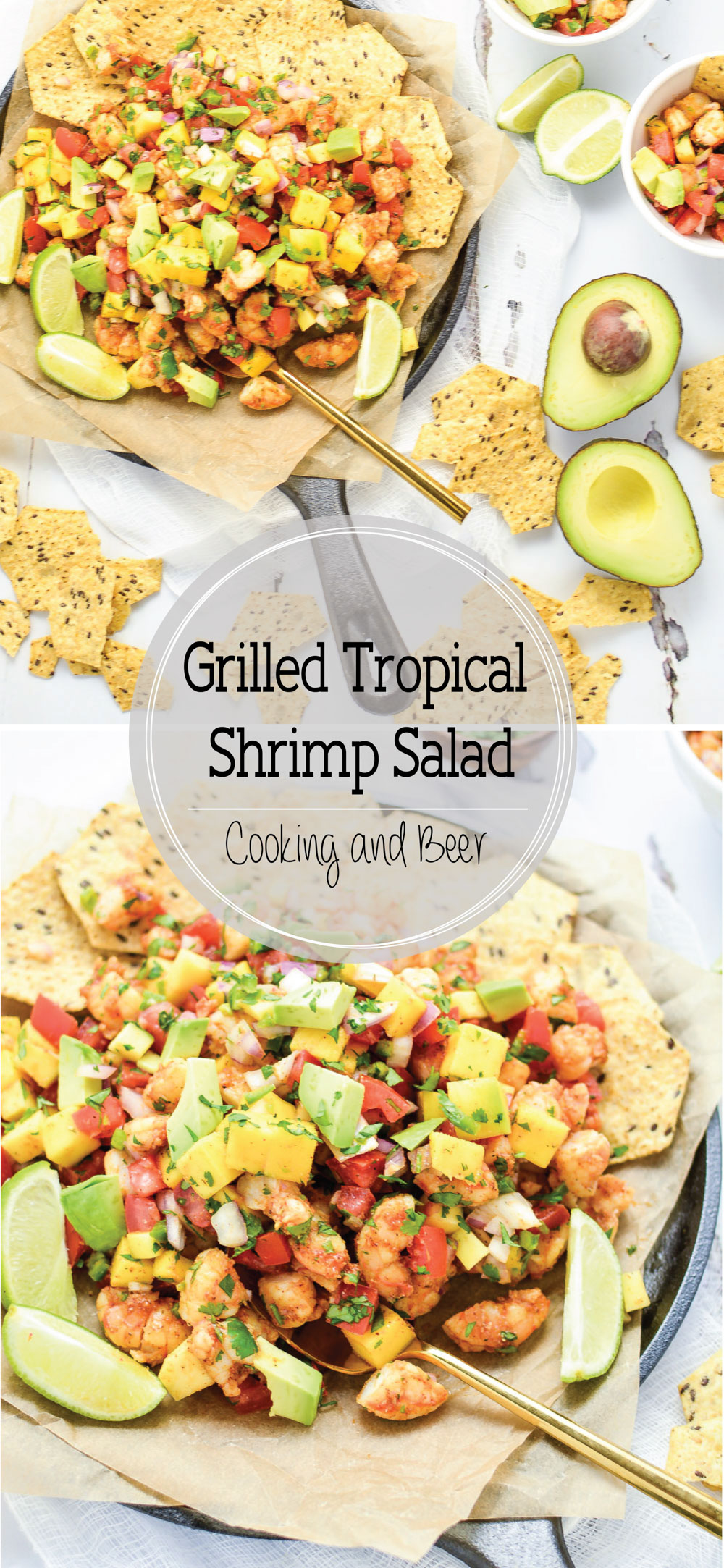 Grilled Tropical Shrimp Salad is a bright and summery salad that's perfect for your Memorial Day picnic!