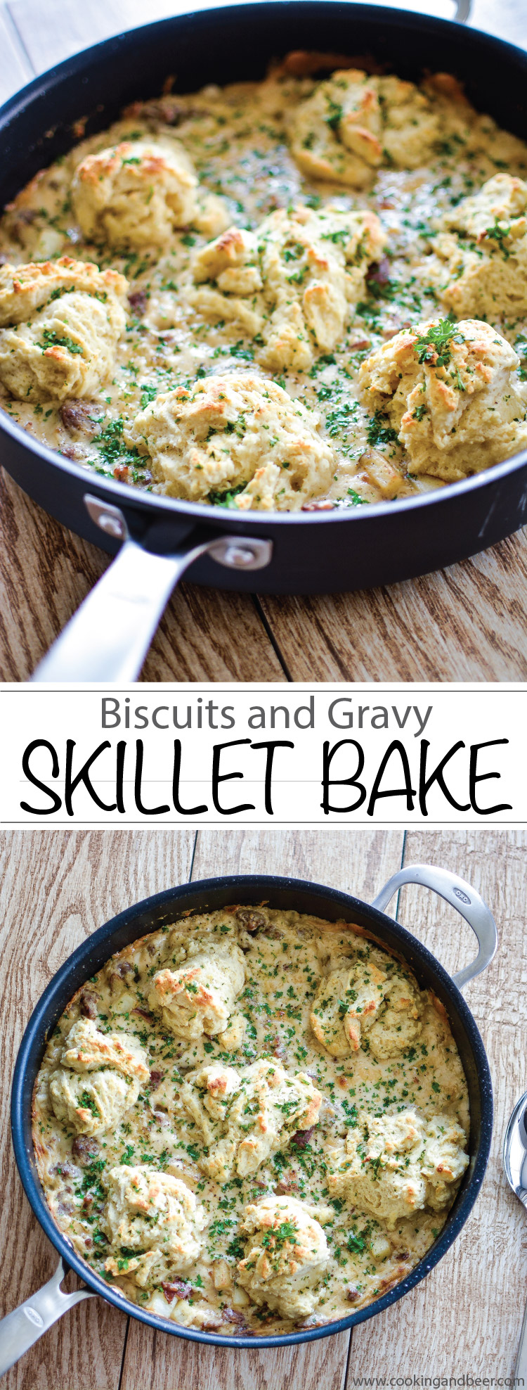 Biscuits and Gravy Skillet Bake: You need this recipe for your next breakfast or brunch party! #OXOCookware | www.cookingandbeer.com