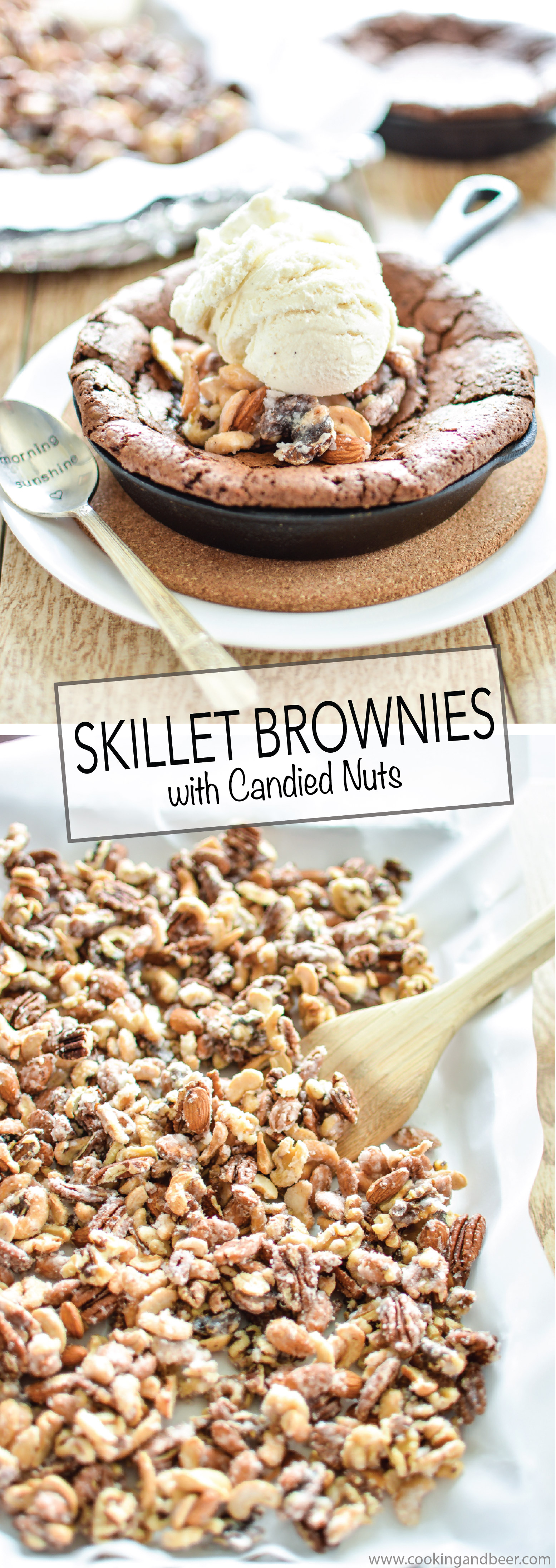 Skillet Brownies with Salty and Sweet Candied Nuts are a quick and perfectly sweet dessert recipe! | www.cookingandbeer.com