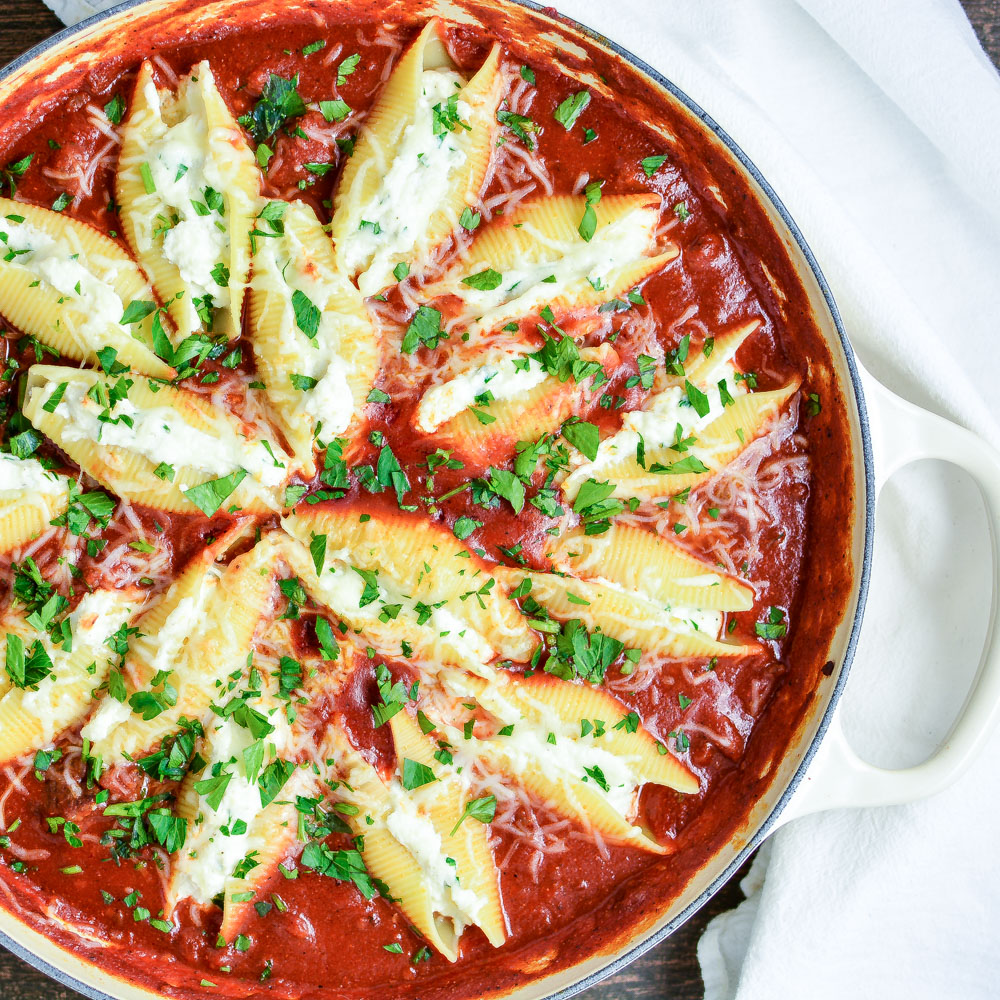 Skillet Stuffed Shells are a simple and delicious weeknight dinner recipe!
