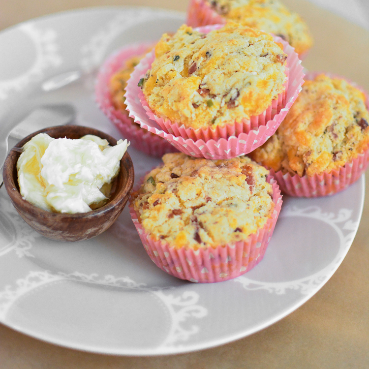 Bacon and Cheese Savory Muffins with Honey Butter