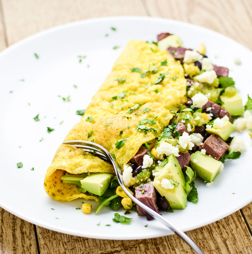 Southwestern Omelet with Quick Salsa Verde is a quick and delicious ...