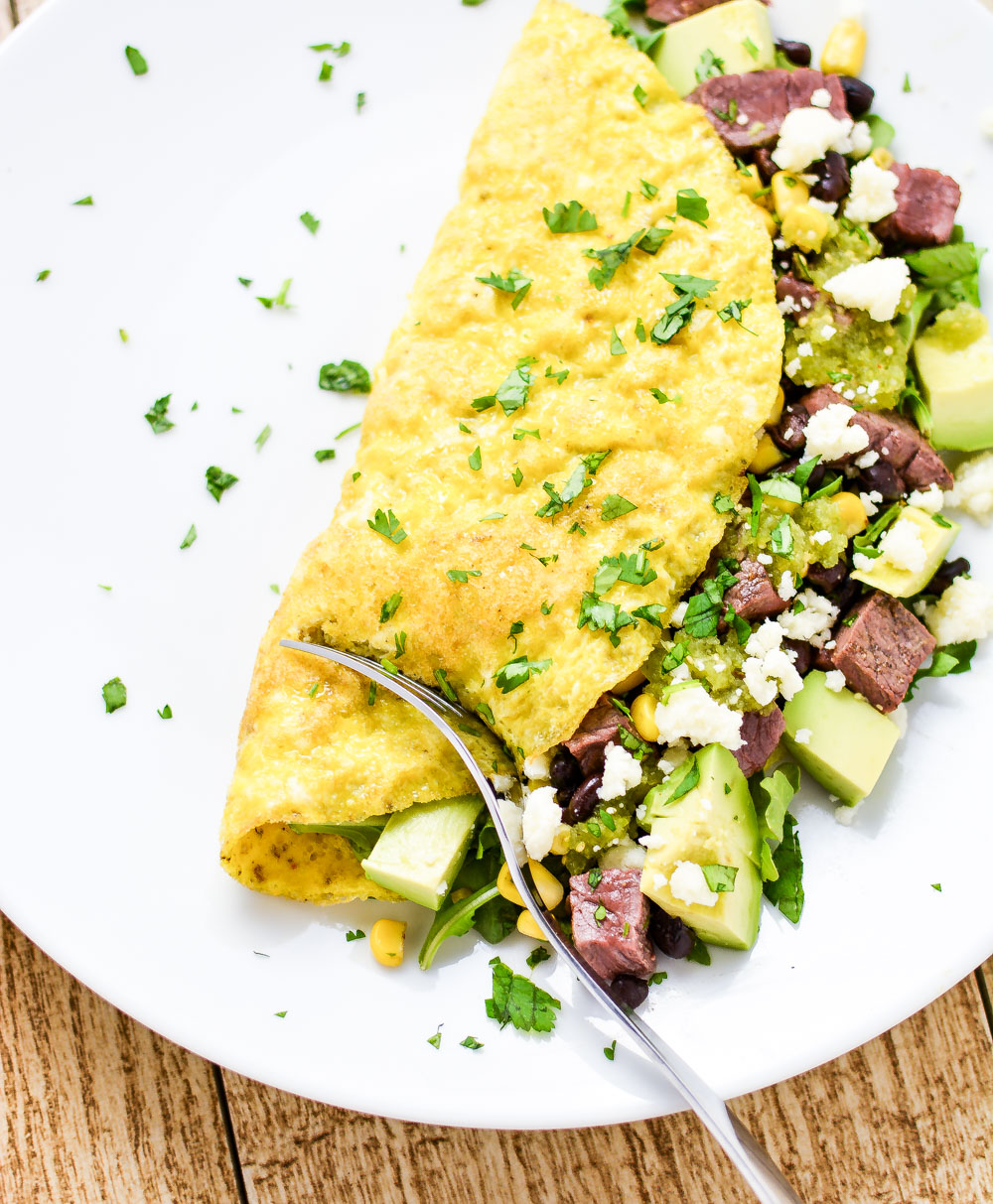 Southwestern Omelet with Quick Salsa Verde