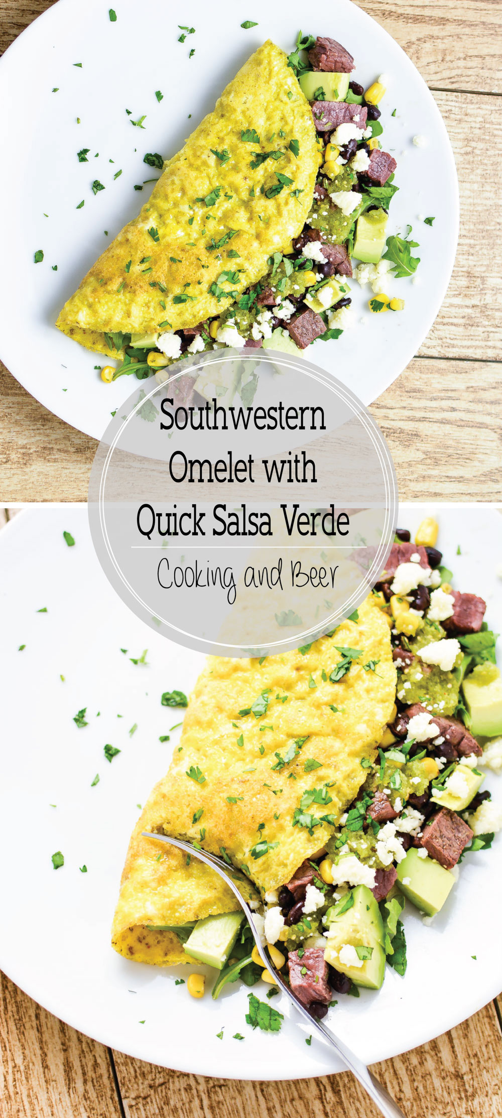 Southwestern Omelet with Quick Salsa Verde is a quick and delicious breakfast or dinner recipe!