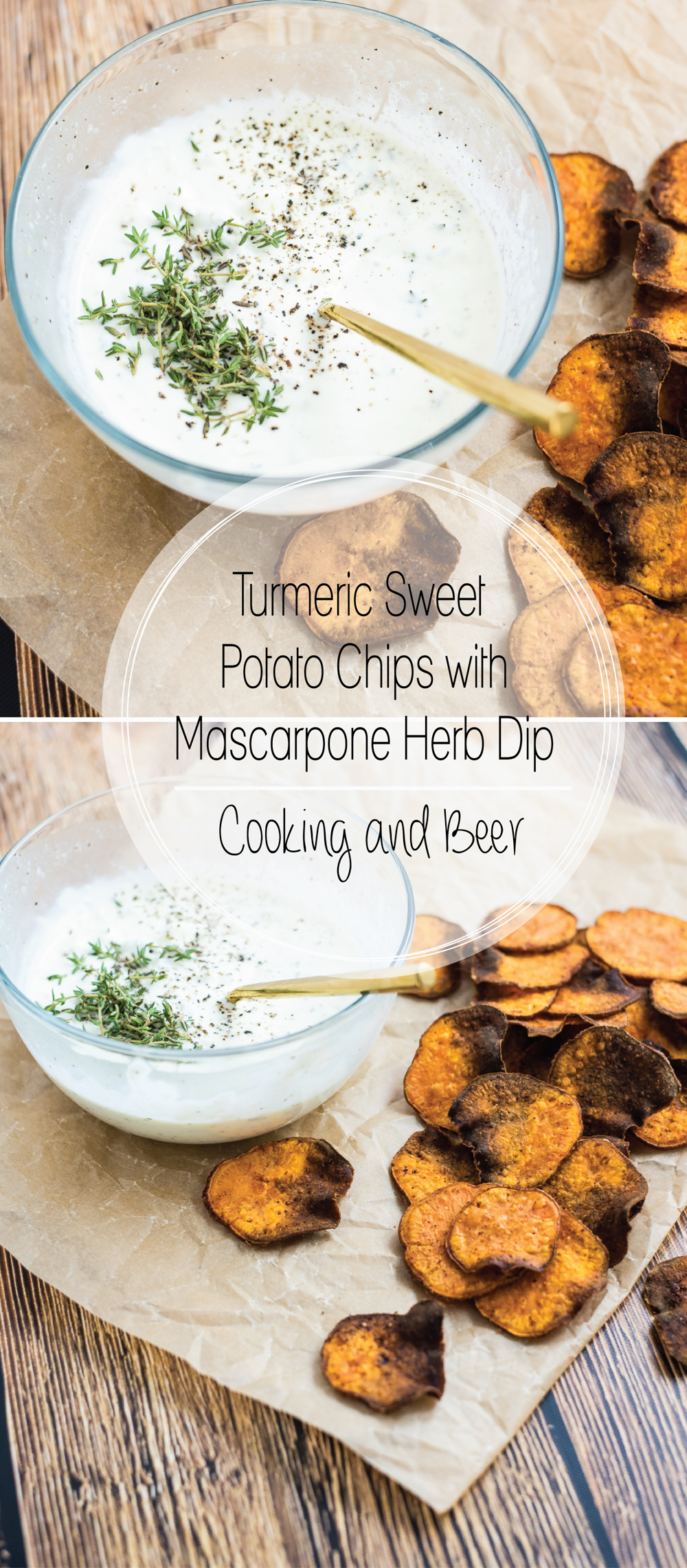 Turmeric sweet potato chips with mascarpone dip is a healthier appetizer recipe where the chips are baked and not fried, and the dip is loaded with herbs!