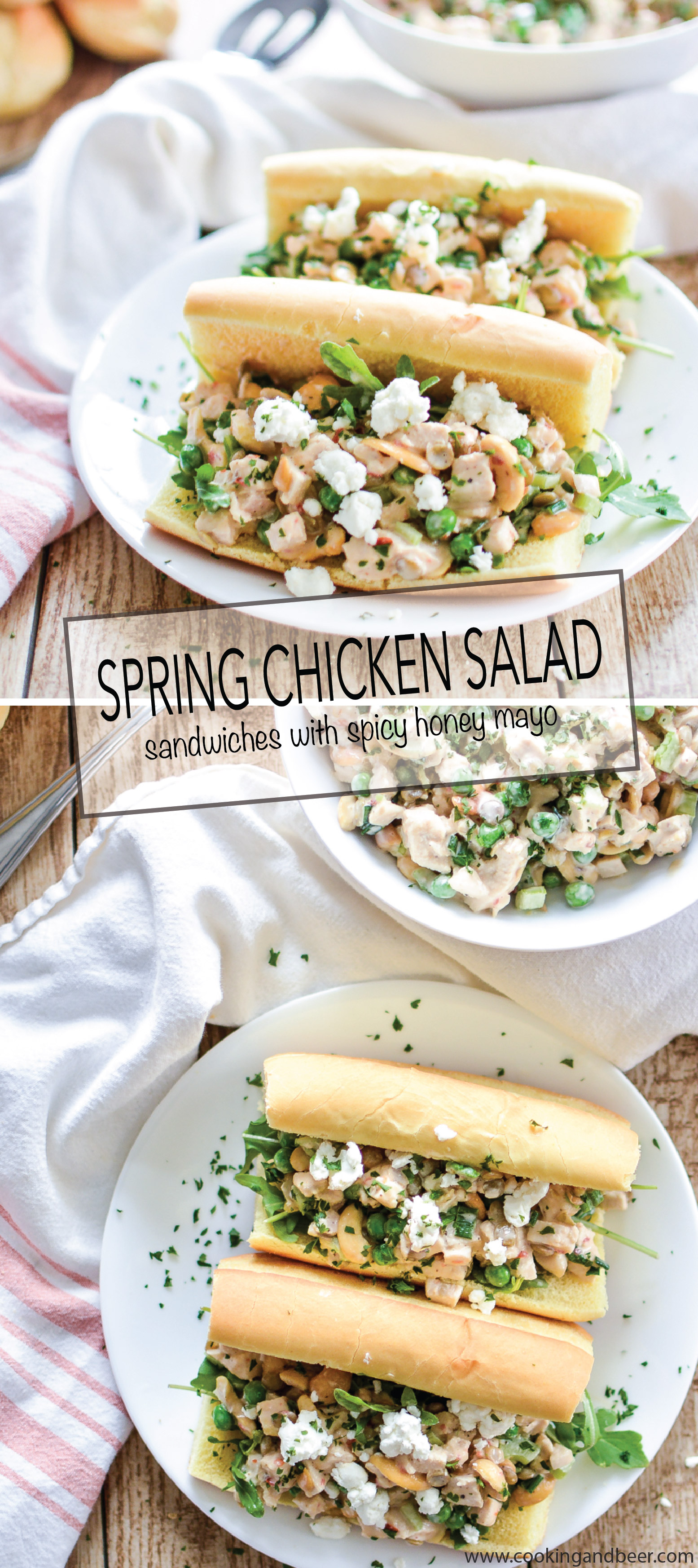 Spring Chicken Salad Sandwiches with Lentils and Spicy Honey Mayo are a fun twist on your traditional chicken salad sandwich and are perfect for lunch or dinner! | www.cookingandbeer.com