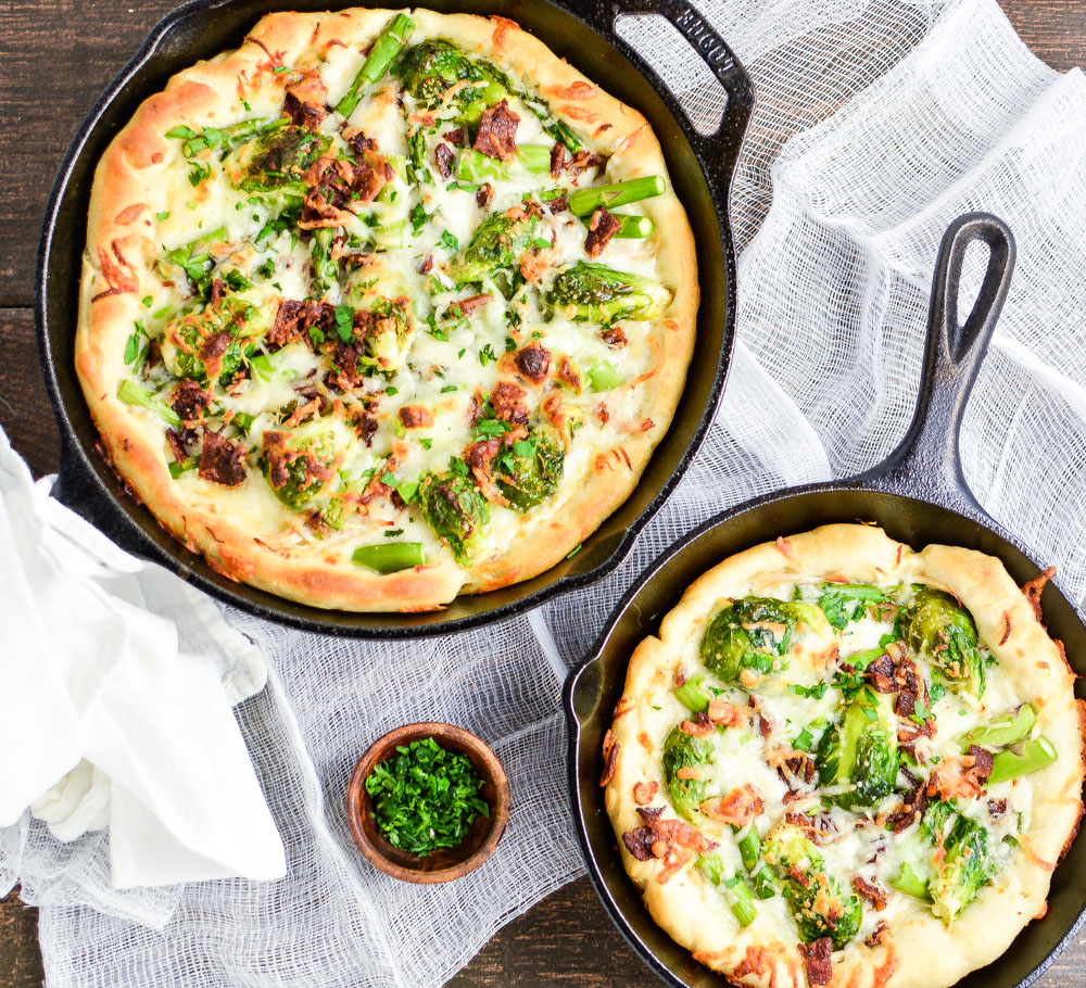 Spring Vegetable White Skillet Pizza is the perfect Friday night dinner recipe highlighting fresh spring flavors!