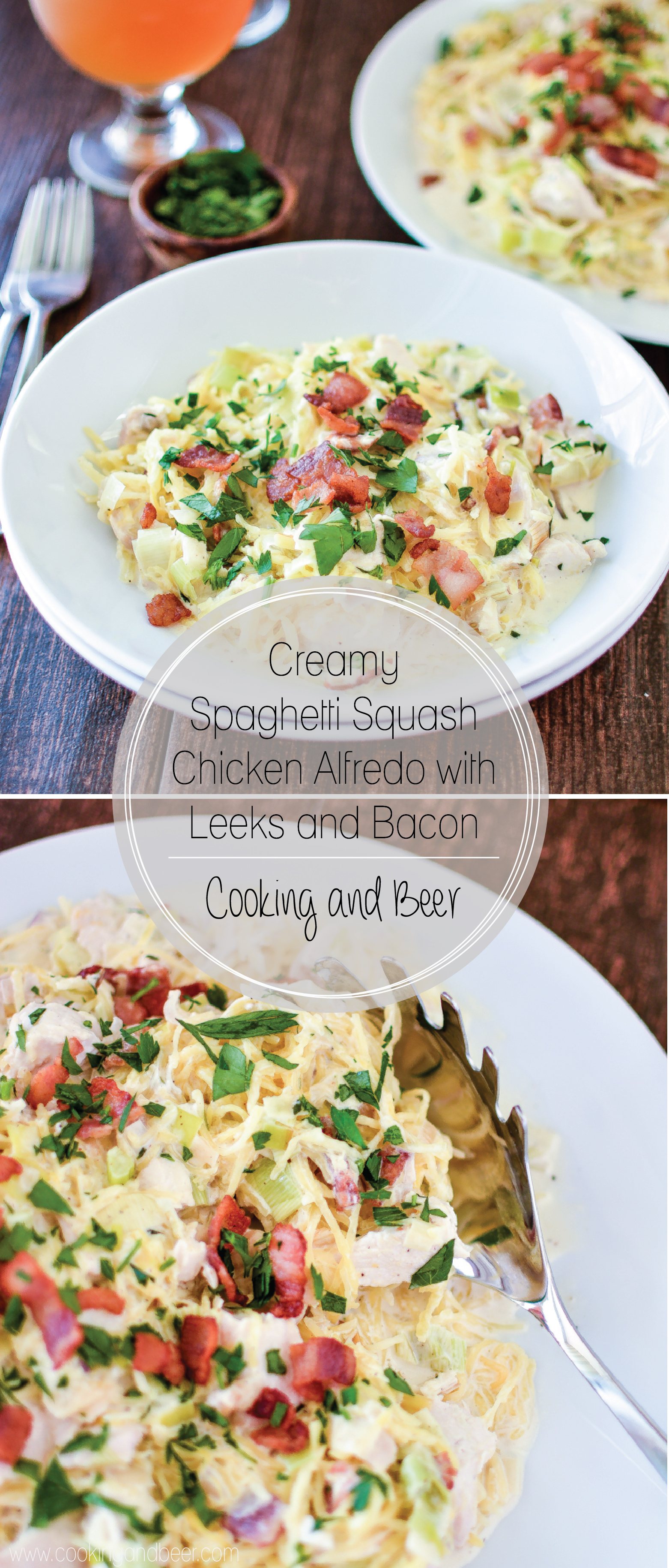 Creamy Spaghetti Squash Chicken Alfredo with Leeks and Bacon: a fun twist on a classic dinner recipe.