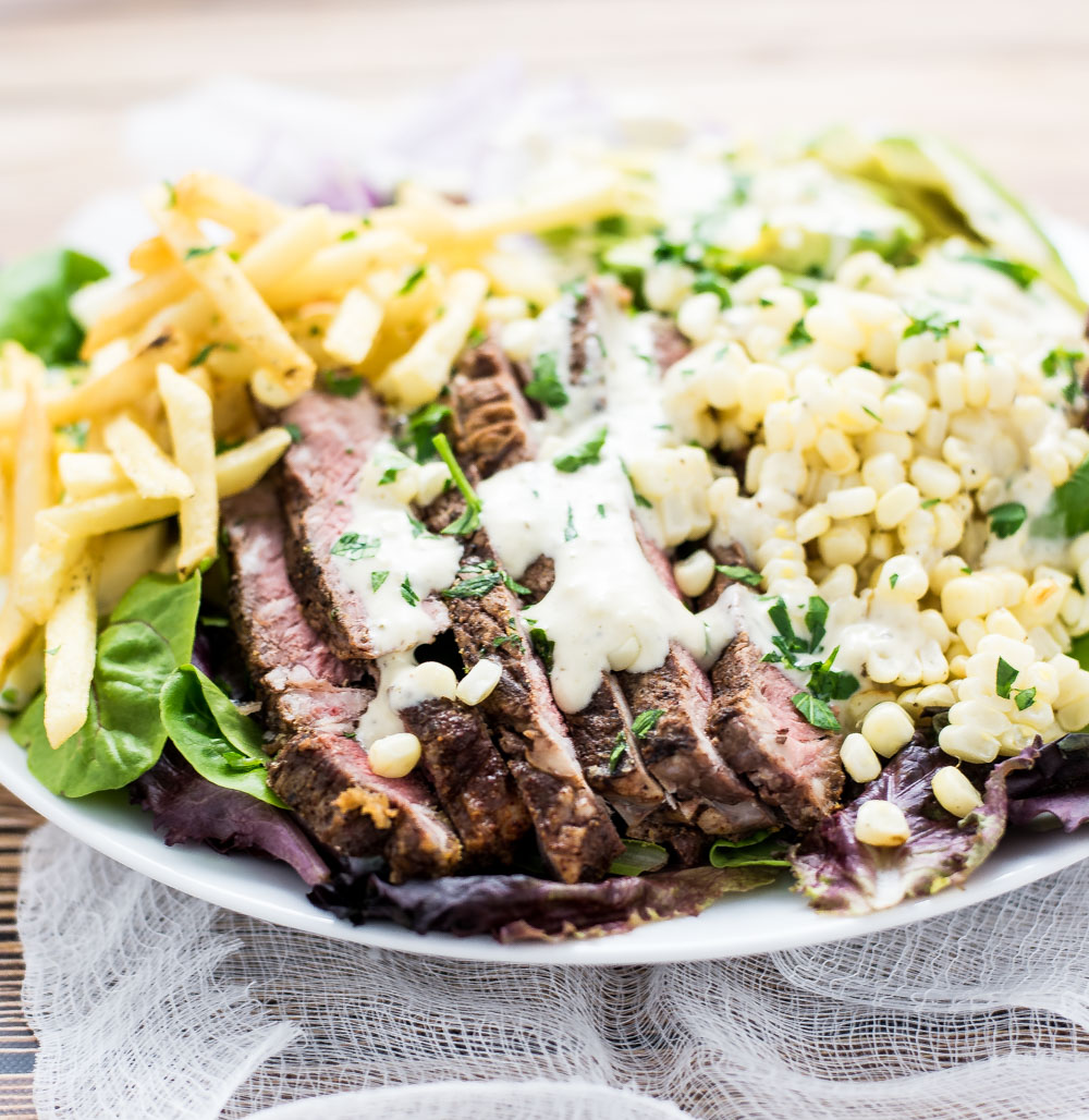 Grilled Steak Salad with Jalapeño Ranch is the perfect way to use up leftover grilled steak. It's a great weeknight meal!