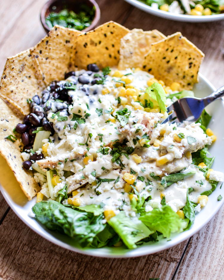Summer Chicken Taco Salad with Jalapeno Ranch: a refreshing and hearty salad featuring Food Should Taste Good tortilla chips!   www.cookingandbeer.com