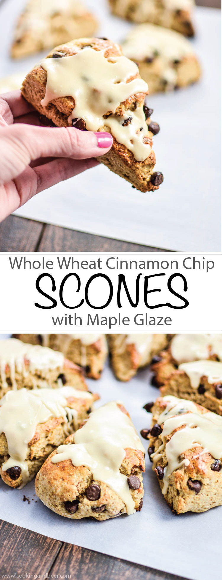 Whole Wheat Cinnamon Chocolate Chip Scones with Maple Glaze | www.cookingandbeer.com | #SweetWarmUp #Ad