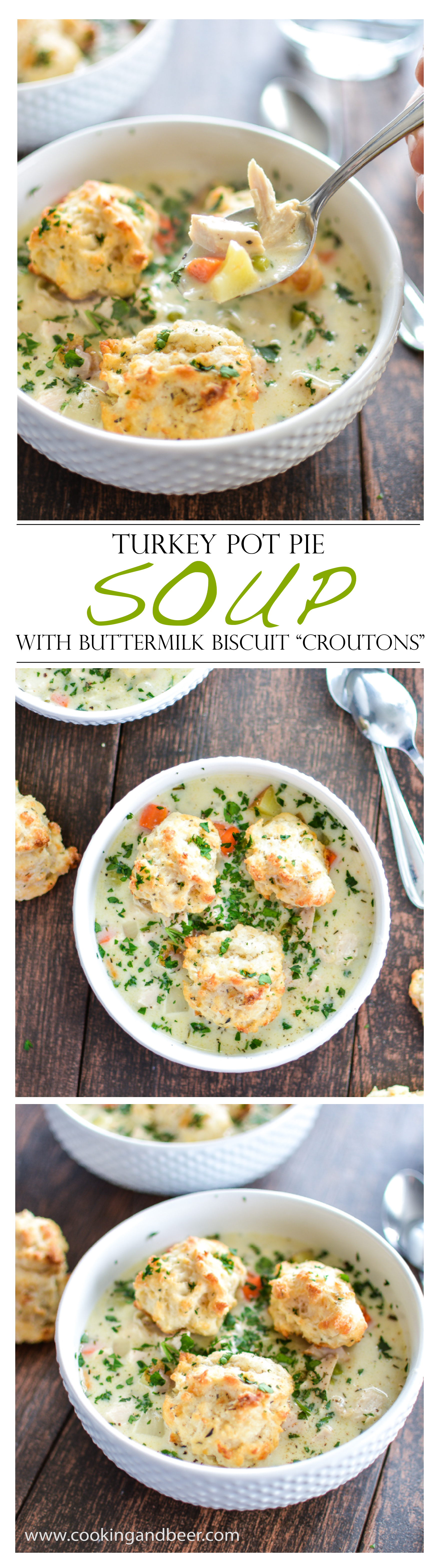 "Turkey Pot Pie Soup with Buttermilk Biscuit ""Croutons"""