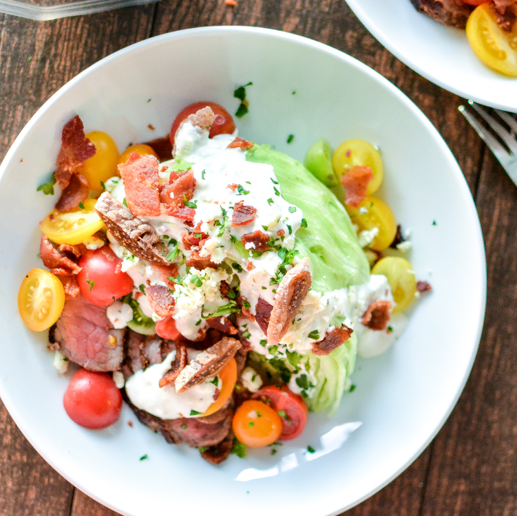 Classic Wedge Salad with Warm Honey Fig Blue Cheese is your go to summer salad recipe to keep things light and refreshing! #BluesdayTuesday | www.cookingandbeer.com