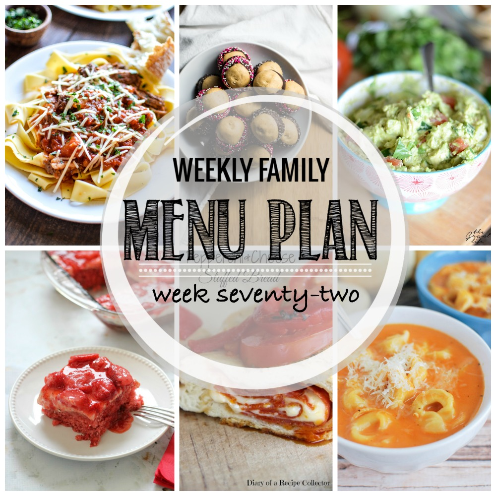 Weekly Family Menu Plan - Week Seventy-Two is brought to you by a group of food bloggers who love to plan ahead! A weekly edition of thoughtfully prepared recipes is rounded up to get you through those busy weeks! | www.cookingandbeer.com