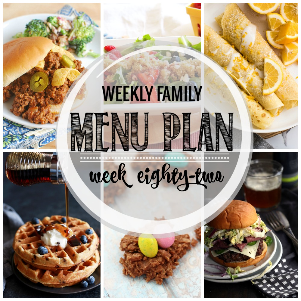 Weekly Family Menu Plan - Week Eighty-Two is brought to you by a group of food bloggers who love to plan ahead! A weekly edition of thoughtfully prepared recipes is rounded up to get you through those busy weeks! | www.cookingandbeer.com