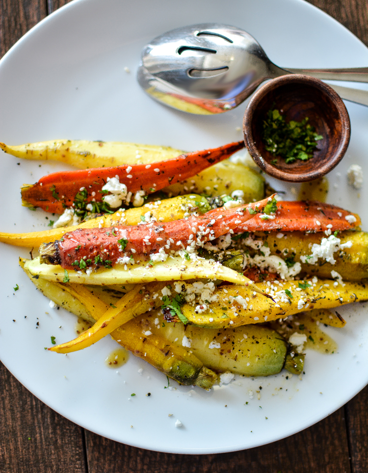 Za'atar Grilled Carrots are the perfect summer side dish that is loaded with spice and flavor! | www.cookingandbeer.com