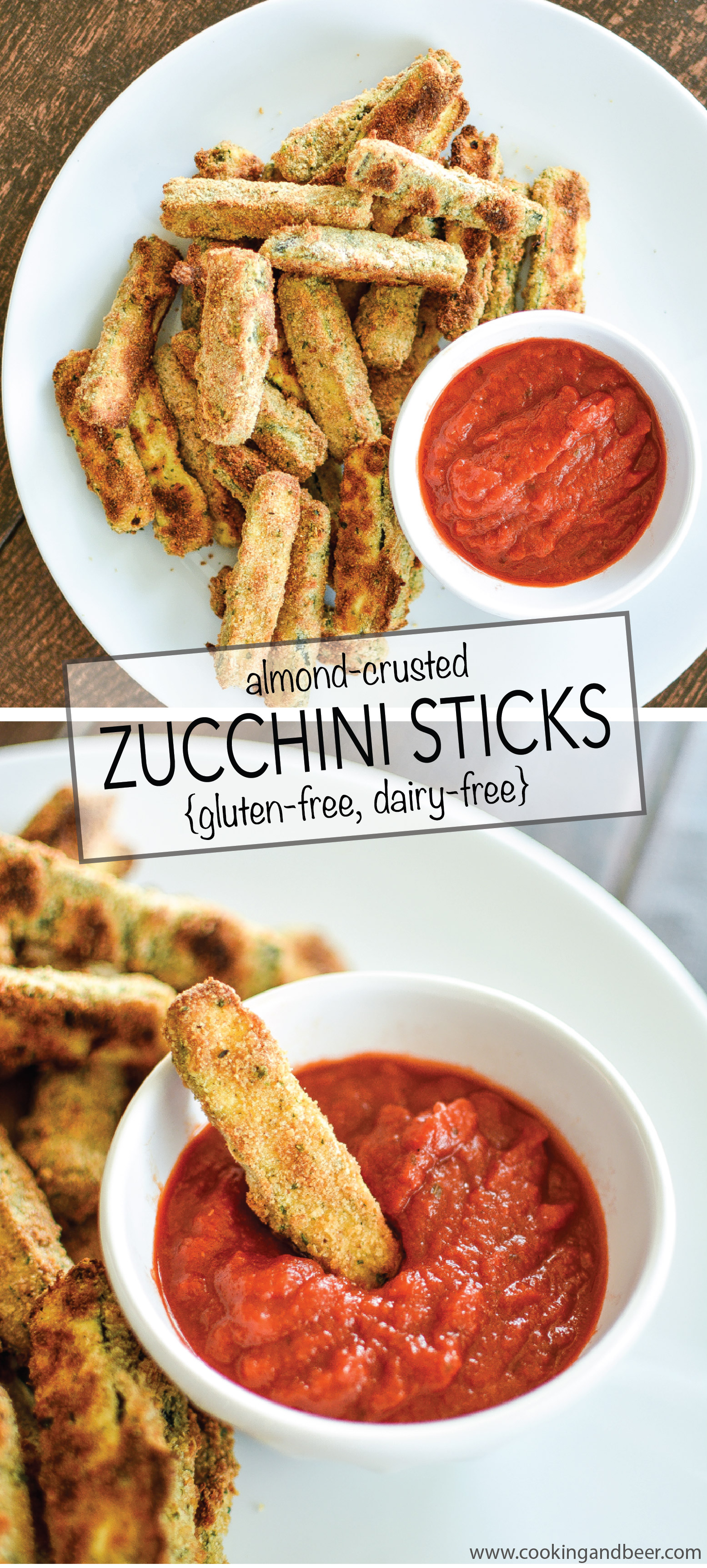 Almond-Crusted Zucchini Sticks are gluten-free and dairy-free. They are the perfect afternoon snack, quick lunch or weeknight dinner recipe! | www.cookingandbeer.com